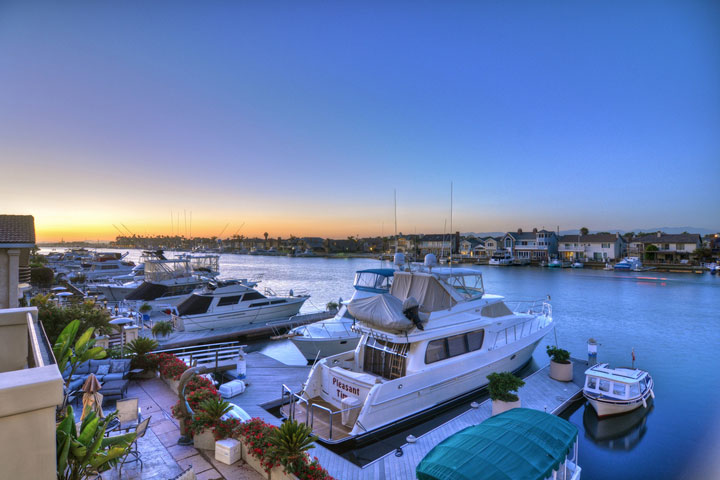 Image of a Huntington Beach Home with Attached Boat Dock